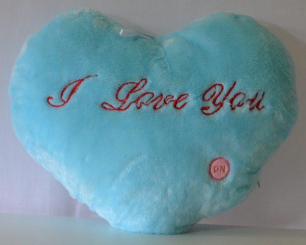LED Kussen 'Happy Heart' blauw