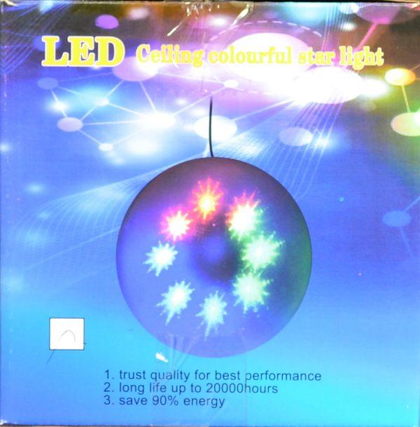 LED bal met ster patroon, warm wit 15cm.-488