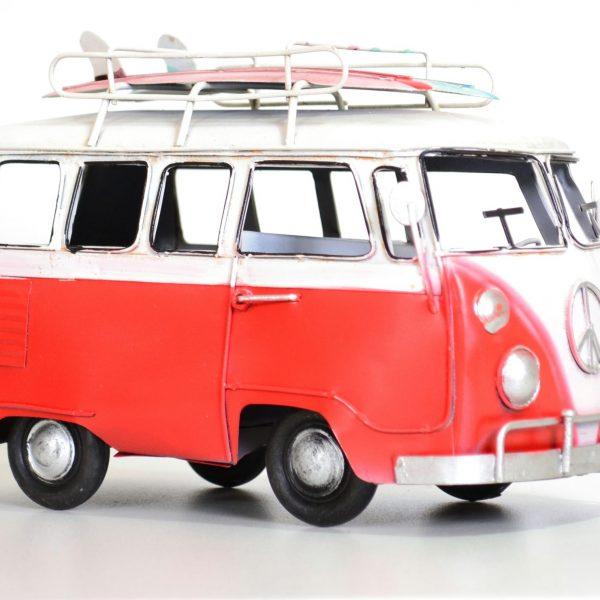 Rode vintage bus met surfplank 20CM-0