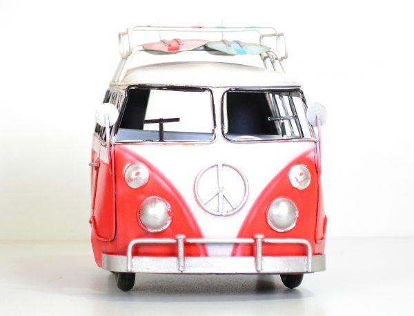 Rode vintage bus met surfplank 20CM-420