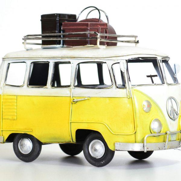 Gele vintage bus met koffers 20CM-0