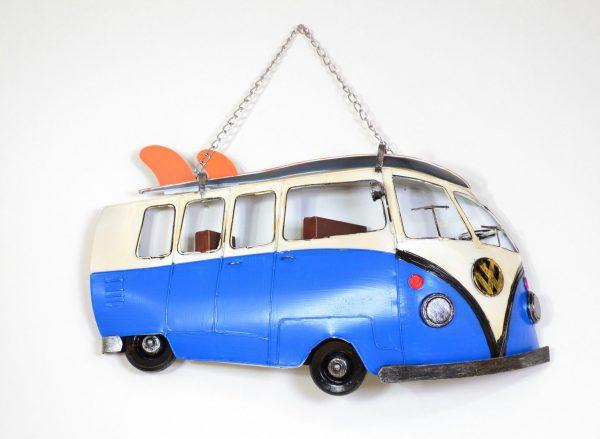 Muurdecoratie vintage blauwe bus met surfplank 40CM-0