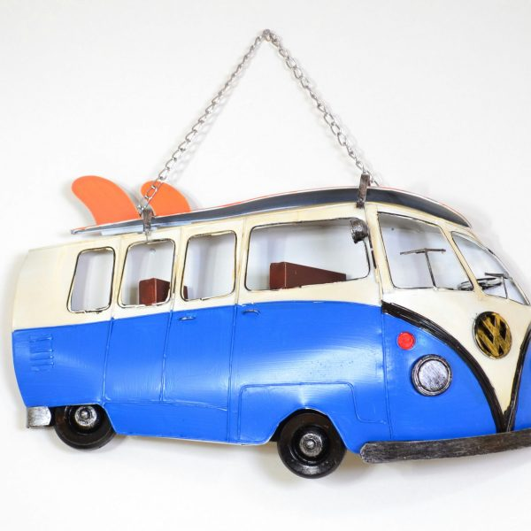Muurdecoratie vintage blauwe bus met surfplank