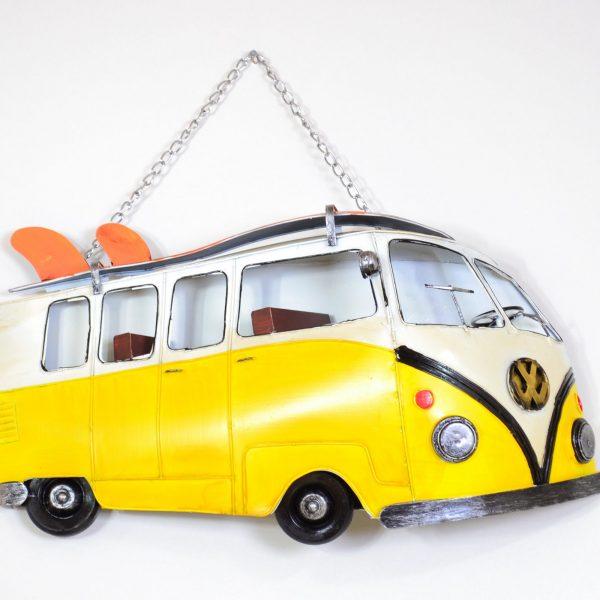 Muurdecoratie vintage gele bus met surfplank