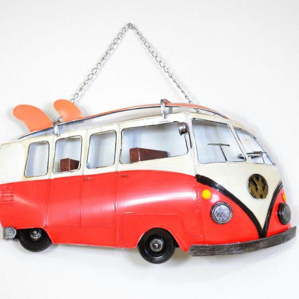 Muurdecoratie vintage rode bus met surfplank