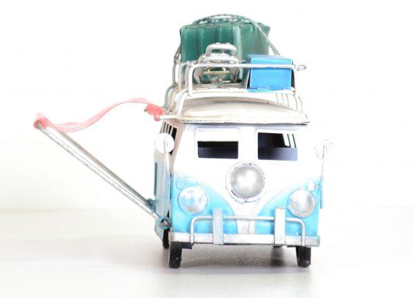 Blauwe vintage bus met koffers en vintage luifel. 15CM-414