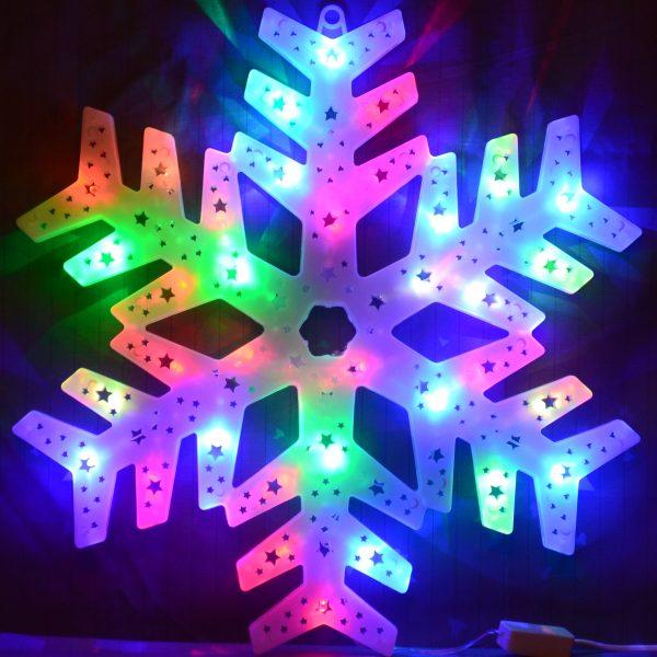 Sneeuwvlok met gekleurde LED