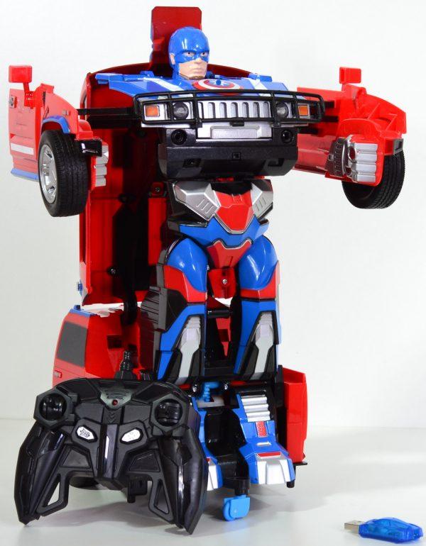 Transformation auto blauw/rood hummer