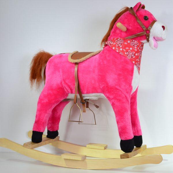 Hobbelpaard met geluid en bewegende staart, donker roze