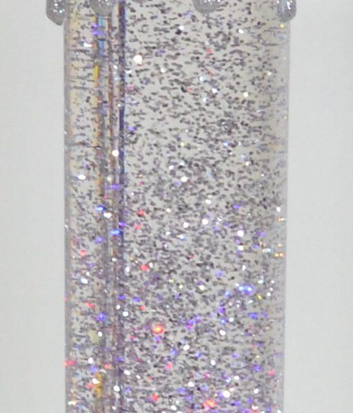 LED Glitterkaars Zilver-0
